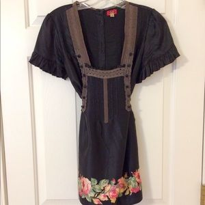 Black & Floral silk Tie-Waist Free People Blouse